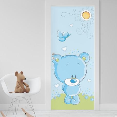 Vinilo Puerta Infantil - Osito azul