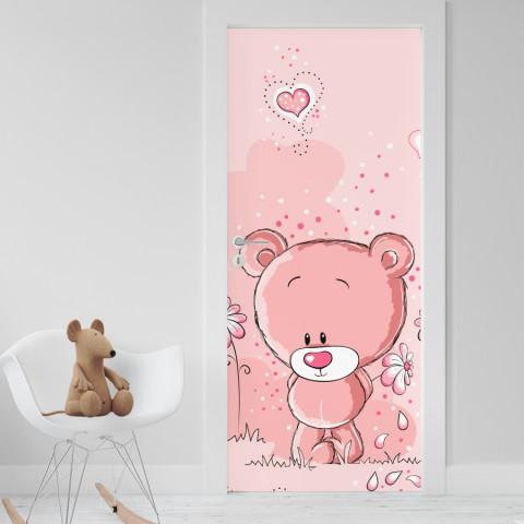 Vinilo para Puerta Infantil - Osito rosa