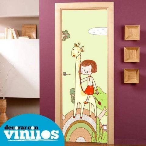 Vinilo para Puerta Infantil - Niña en jirafa