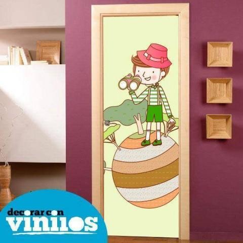 Vinilo para Puerta Infantil - Niño mirando