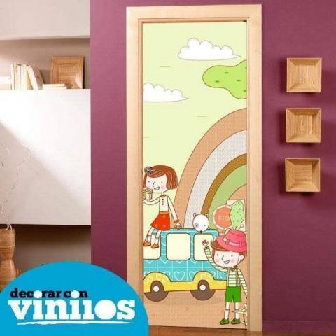 Vinilo para Puerta Infantil - Niños