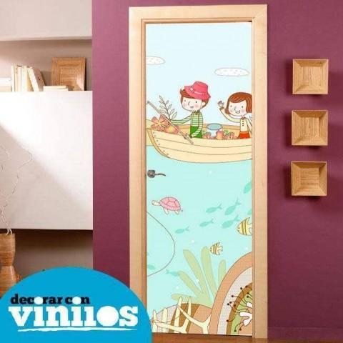 Vinilo para Puerta Infantil - Pescando
