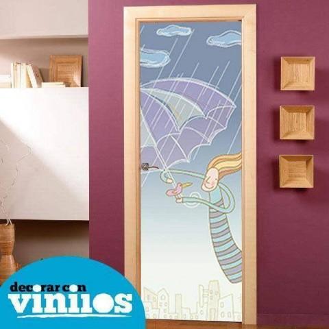 Vinilo para Puerta Infantil - Con paraguas