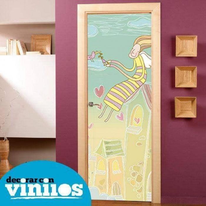 Vinilo para Puerta Infantil - En el tejado