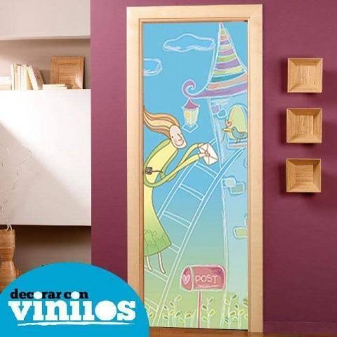 Vinilo para Puerta Infantil - En la torre