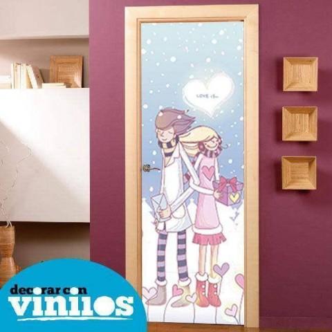 Vinilo para Puerta Infantil - En la nieve