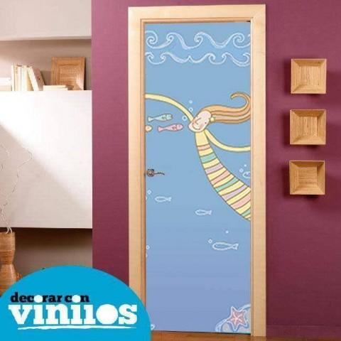 Vinilo para Puerta Infantil - En el mar