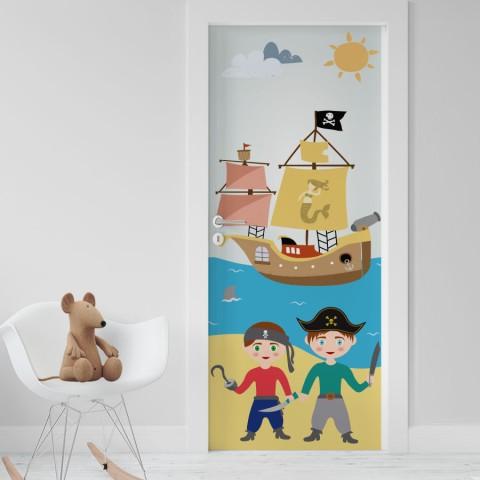 Vinilo Puerta Infantil - Piratas