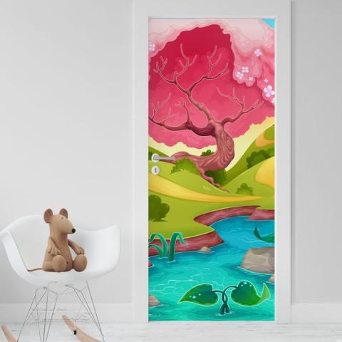 Vinilo Puerta Infantil - Arbol rosa