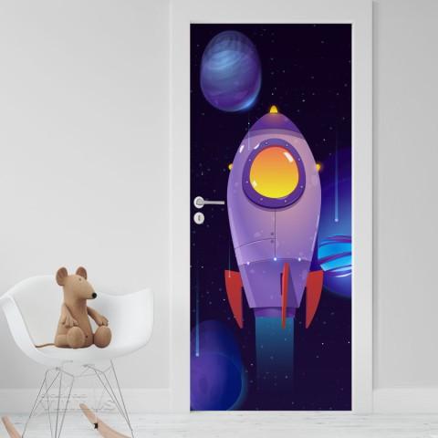 Vinilo Puerta Infantil - Nave espacial