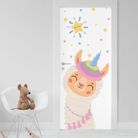 Vinilo Puerta Infantil - Llama Unicornio