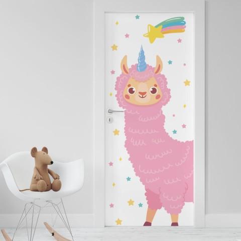 Vinilo Puerta Infantil - Llama Unicornio Rosa