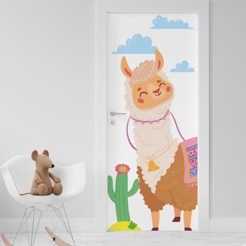 Vinilo Puerta Infantil - Llama