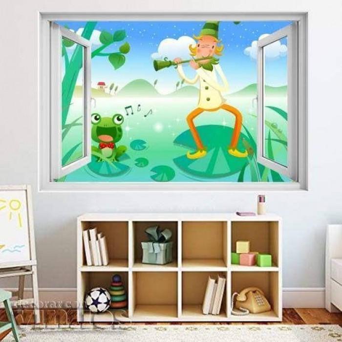 Ventana Infantil - Duende con una rana