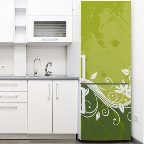 Vinilo para Nevera - Flor abstracta verde