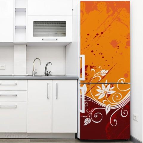 Vinilo para Nevera - Flor Abstracta Naranja