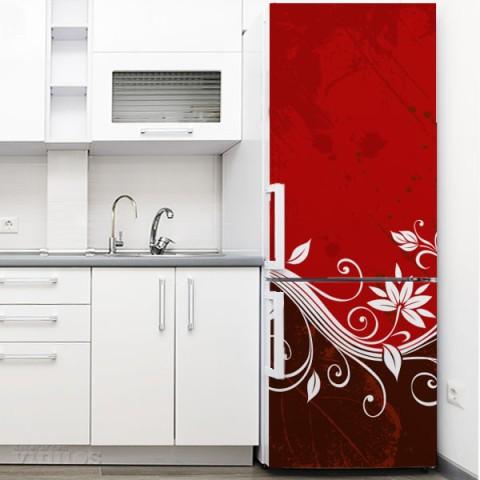 Vinilo para Nevera - Flor Abstracta Roja