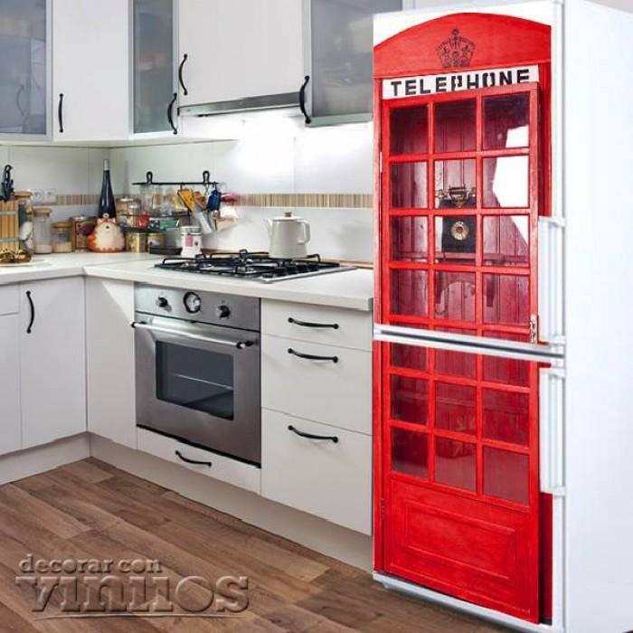 Vinilo para Nevera - Cabina de telefono de Londres