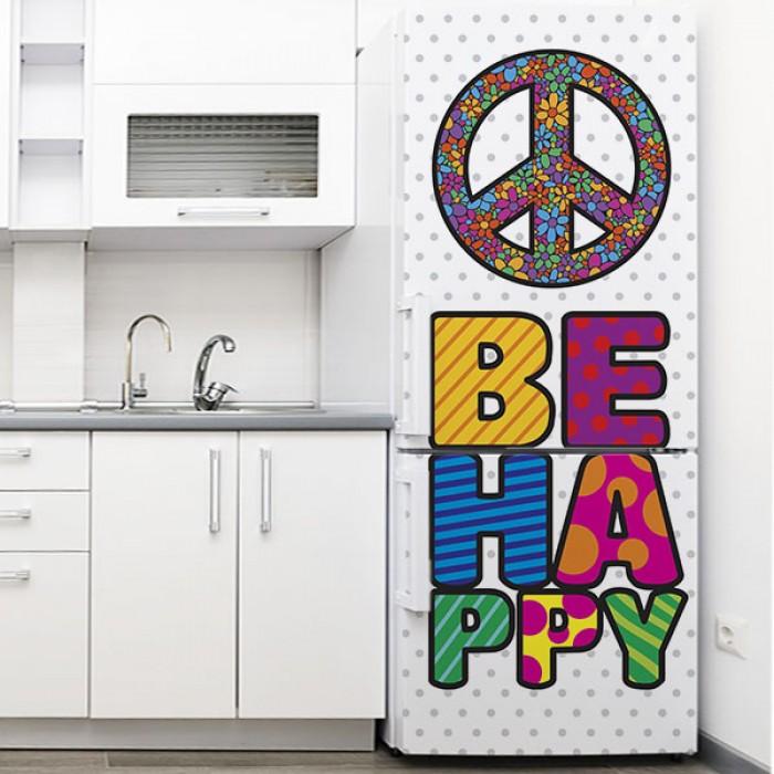 Vinilo para Nevera - Be Happy