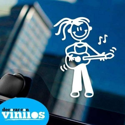 Pegatina de Familia - Hija con guitarra
