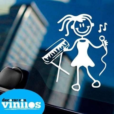 Pegatina de Familia - Hija con piano