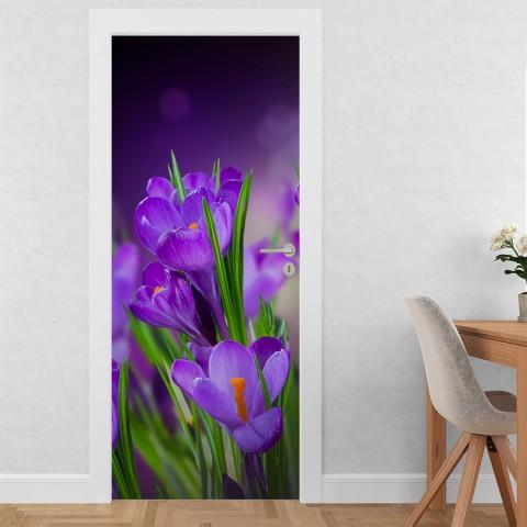 Vinilo para Puerta - Flores lilas