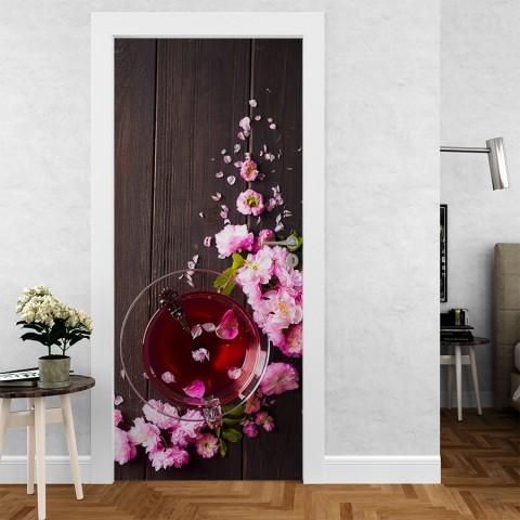 Vinilo para Puerta - Te con flores
