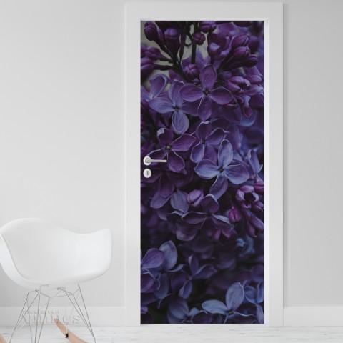 Vinilo para Puerta - Flores violetas
