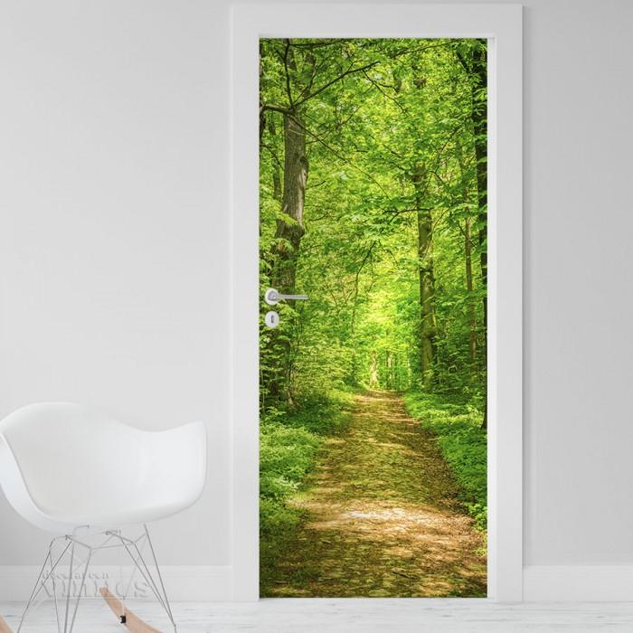Vinilo para Puerta - Camino en el bosque