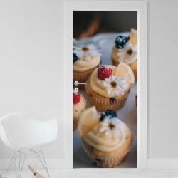 Vinilo para Puerta - Cupcakes con flores