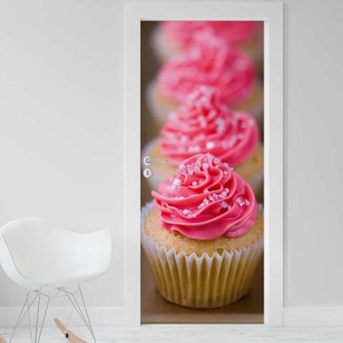 Vinilo para Puerta - Cupcakes rosas