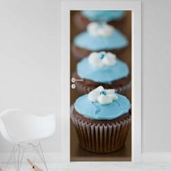 Vinilo para Puerta - Cupcakes celestes
