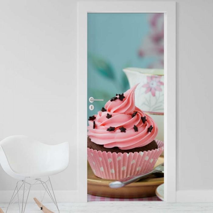 Vinilo para Puerta - Cupcake con taza de te