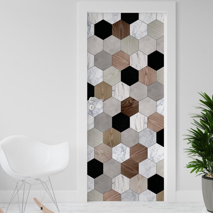 Vinilo para Puerta - Hexagonos madera y marmol