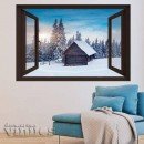 Ventana 3D -  Cabaña en la nieve