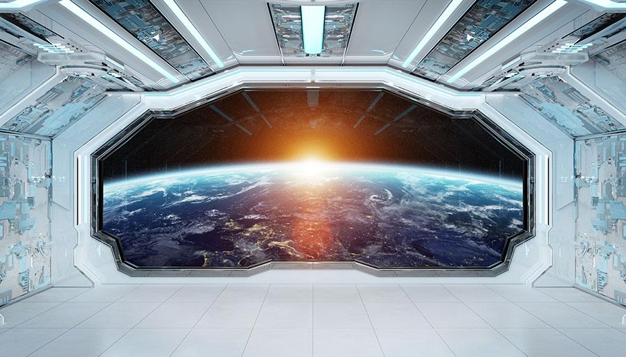 Fotomural - Interior nave espacial con vistas a la tierra