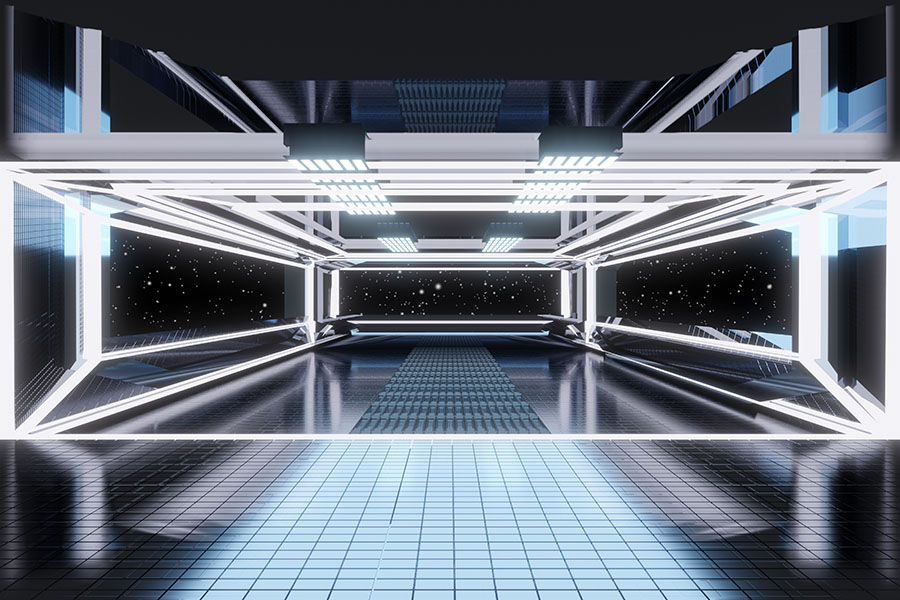 Fotomural - Interior nave espacial futurista