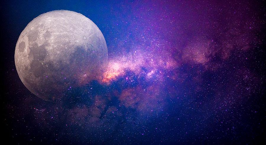 Fotomural - Luna y Via Lactea