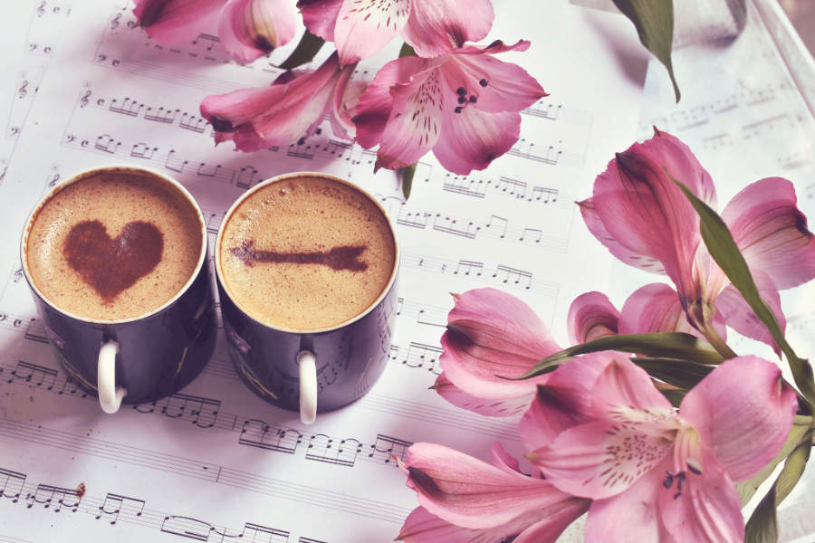 Fotomural - Cafe con amor y flores