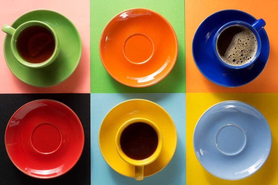 Fotomural - Tazas de cafe de colores